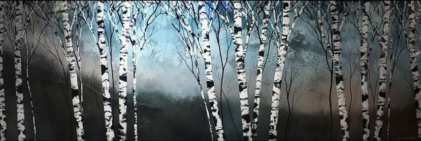 Stainless original carved acrylic and carved landscape aspen painting by Colorado artist Christopher Owen Nelson