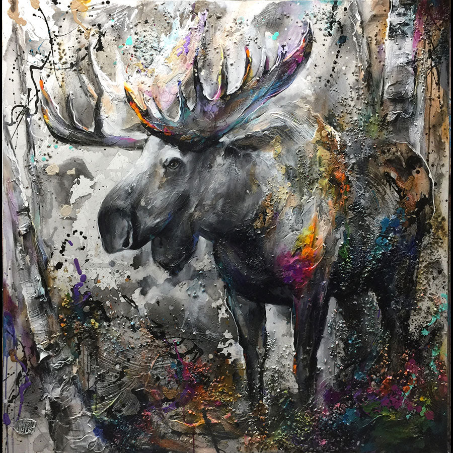 Standing Strong original mixed media moose painting by artist Miri Rozenvain art for sale at raitman art galleries