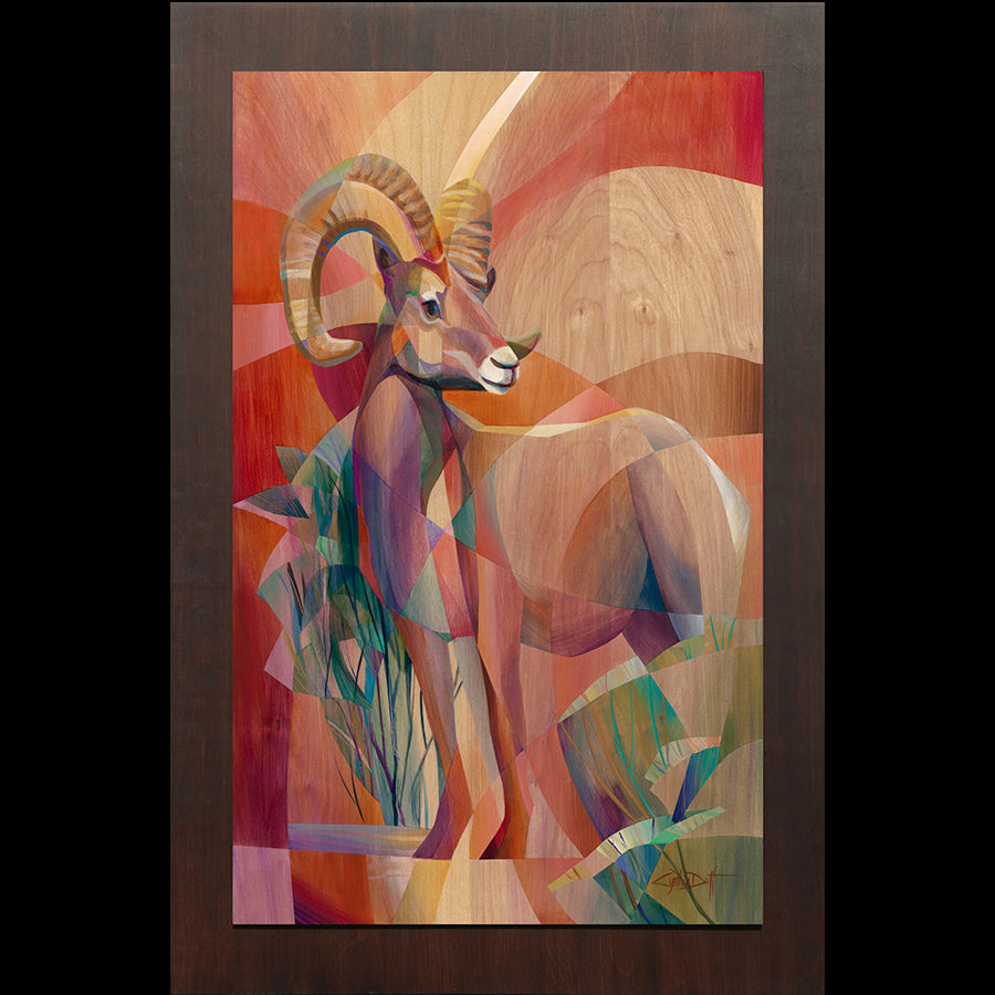 Colorado artist Cynthia Duff Original Painting on Wood of Bighorn Sheep: Standing Strong