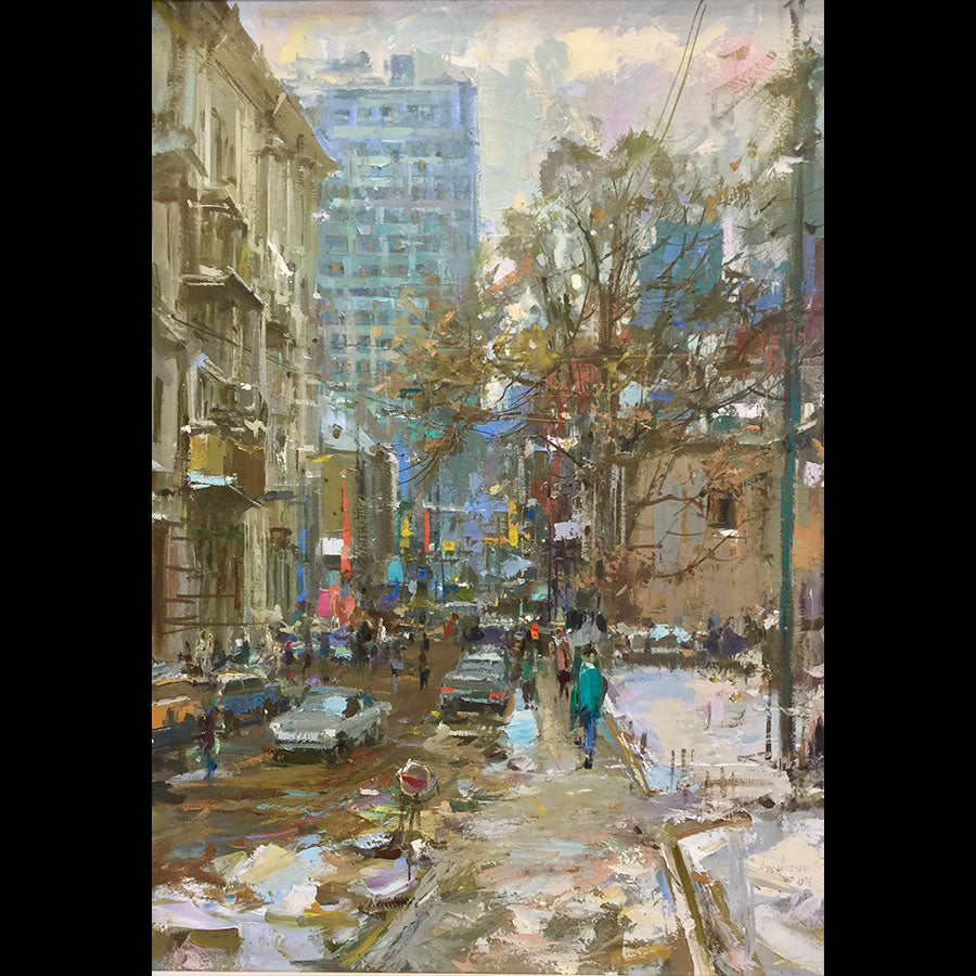 Starokonyushenny Street View, Moscow, 2009 is an original oil on canvas painting by russian artist Alexander Dubovsky