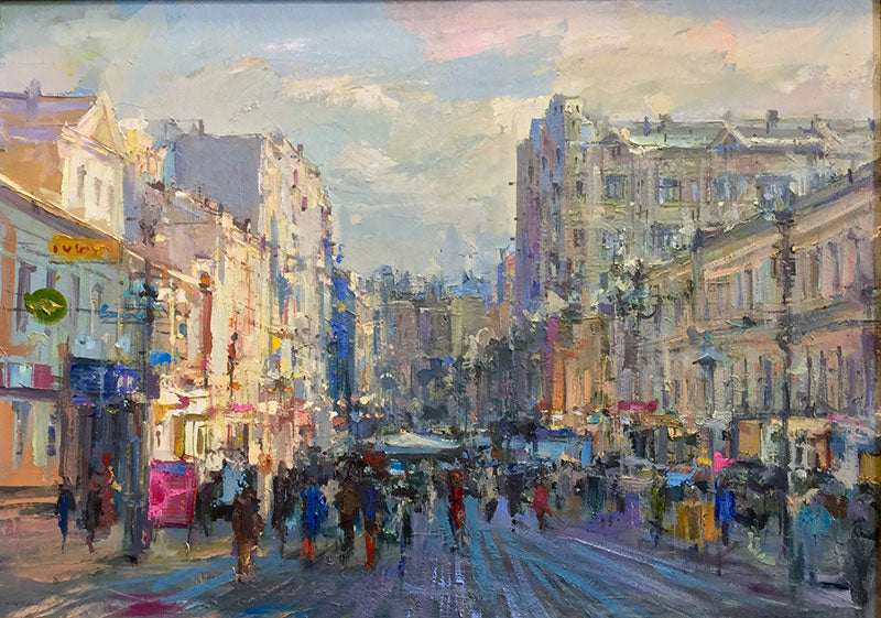 Stary Arbat View, Moscow 2009 is an original oil on canvas painting by russian artist Alexander Dubovsky
