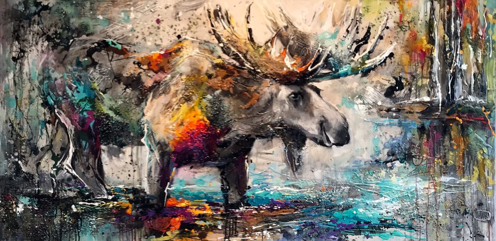 Staying on Track - Original Moose Painting by Artist Miri Rozenvain