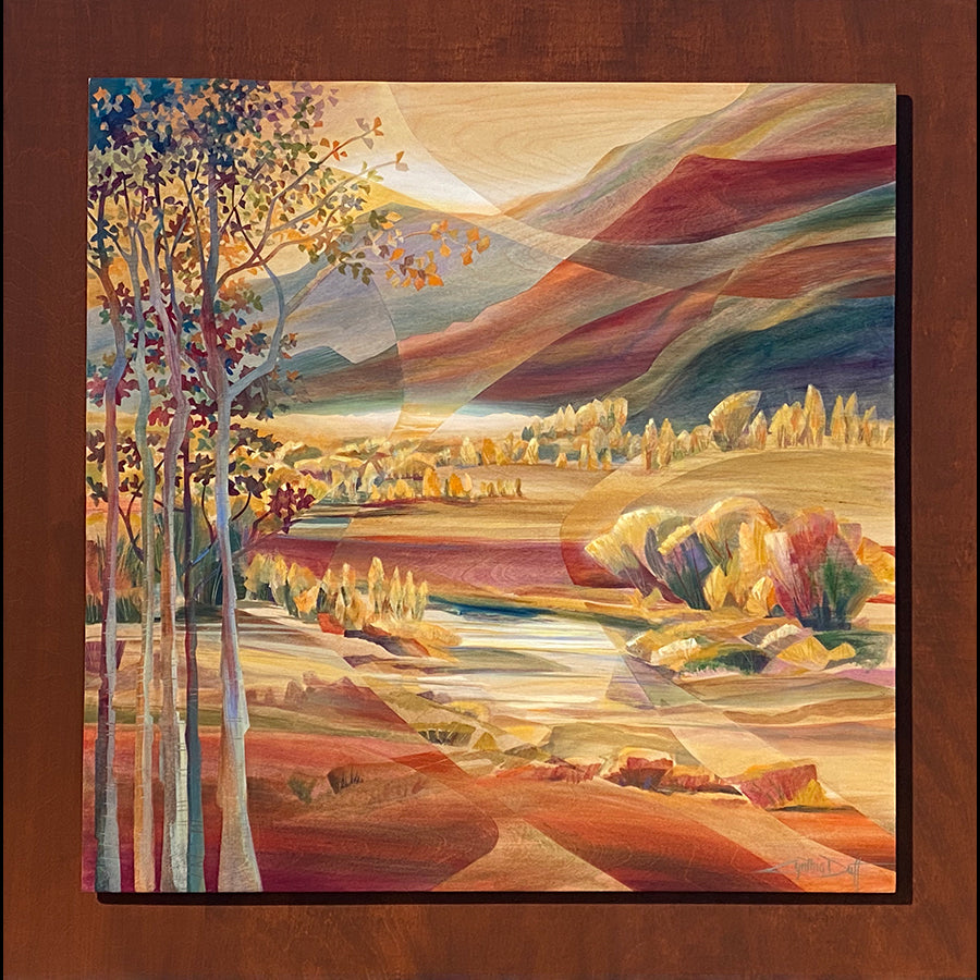 Stream Flow mountain painting by artist Cynthia Duff