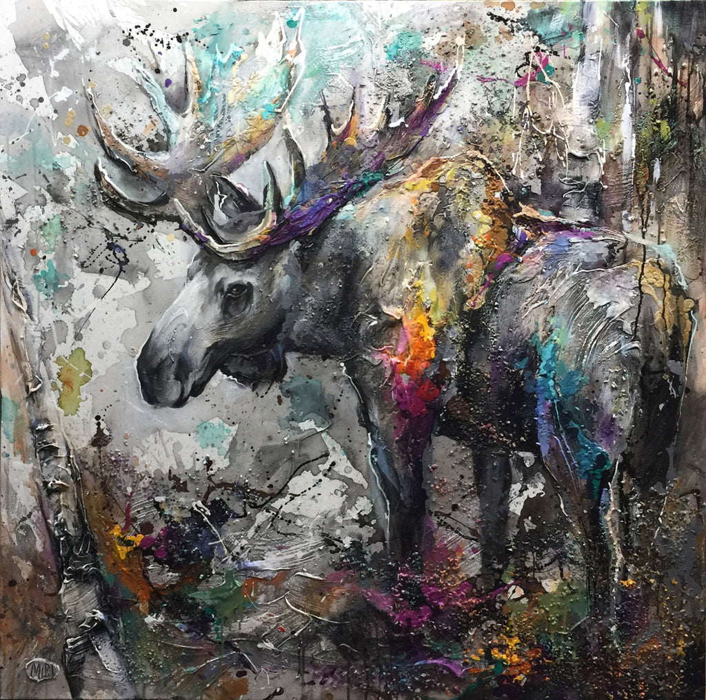 Strolling the forest original mixed media moose painting by artist Miri Rozenvain