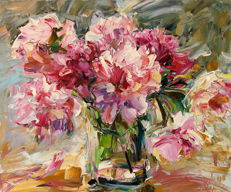Summer Peonies original oil on canvas painting by Denver Colorado artist Lyudmila Agrich