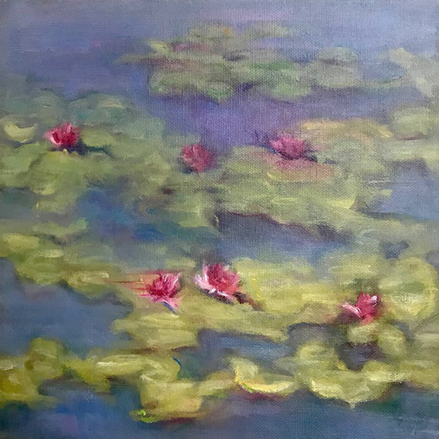Sun Kissed original oil on canvas lilly painting in style of impressionist Claude Monet by Colorado artist Judy Greenan