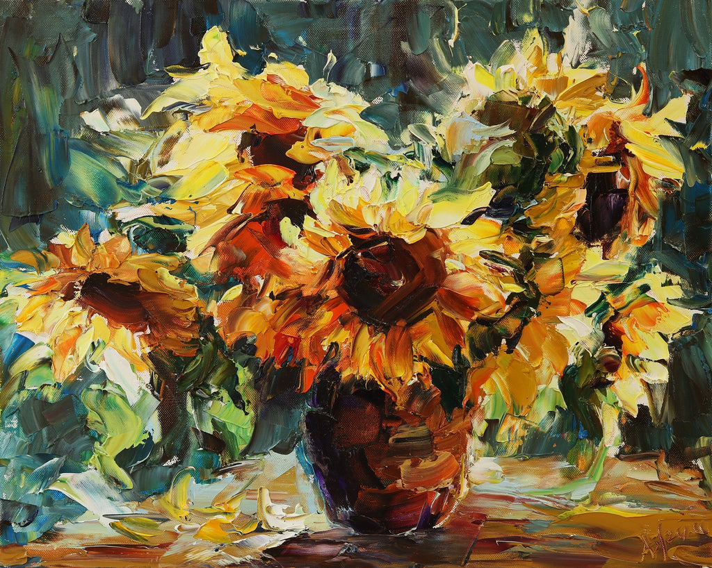Sunflowers original oil on canvas painting by artist Lyudmila Agrich