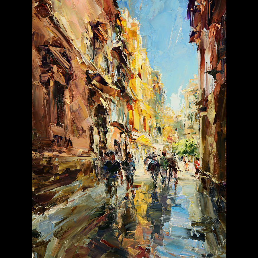 Sunny Day in Barcelona original painting by Lyudmila Agrich for sale at Raitman Art Galleries