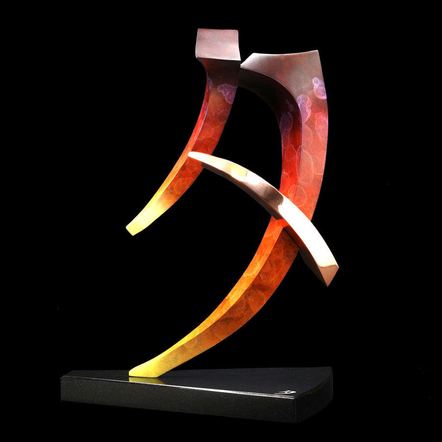 Sunset 10 ft tall Chinese calligraphy symbol by bronze artist Casey Horn