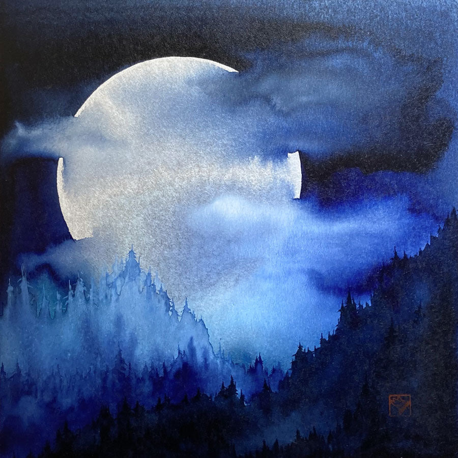 Super Snow Moon original watercolor full moon painting by artist Kay Stratman