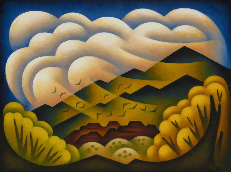 Valley Gusts original acrylic on panel landscape painting by Colorado artist Sushe Felix