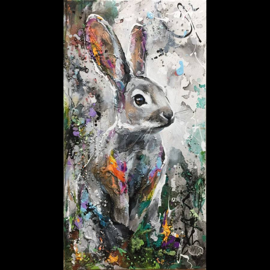 Sweet and Clever bunny rabbit painting by artist Miri Rozenvain