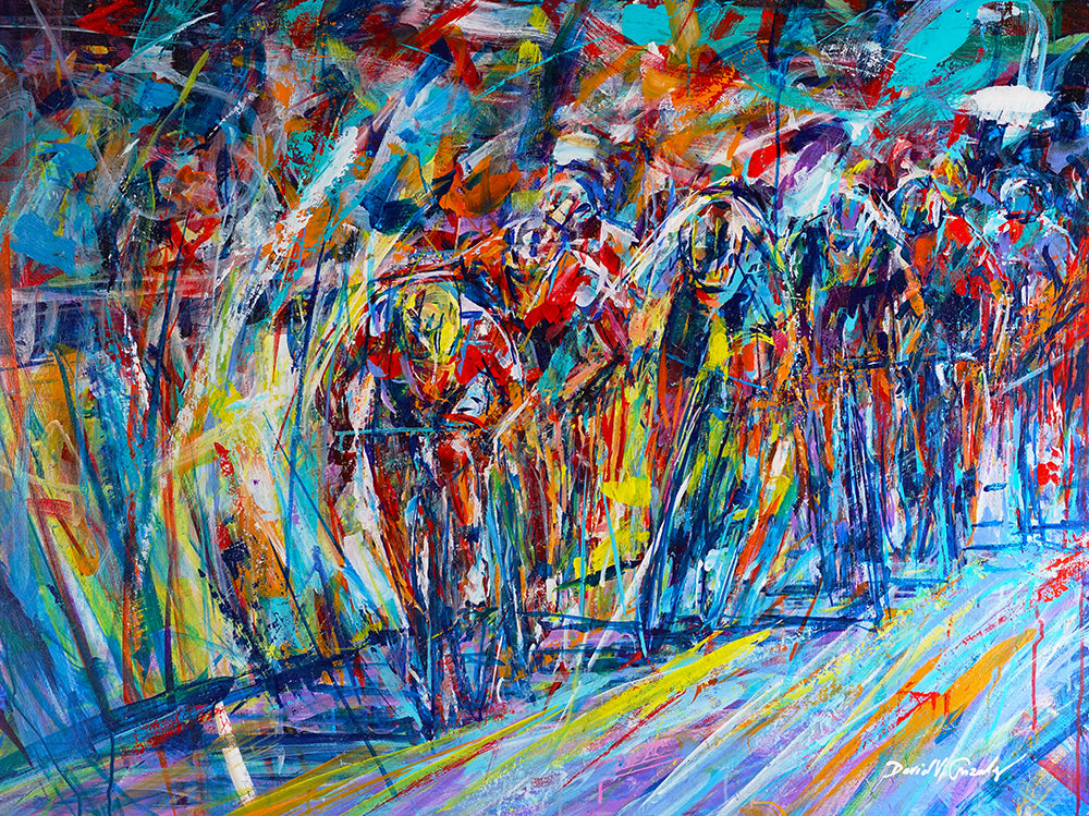 Tenacious Cycling Race Painting by artist David V. Gonzales