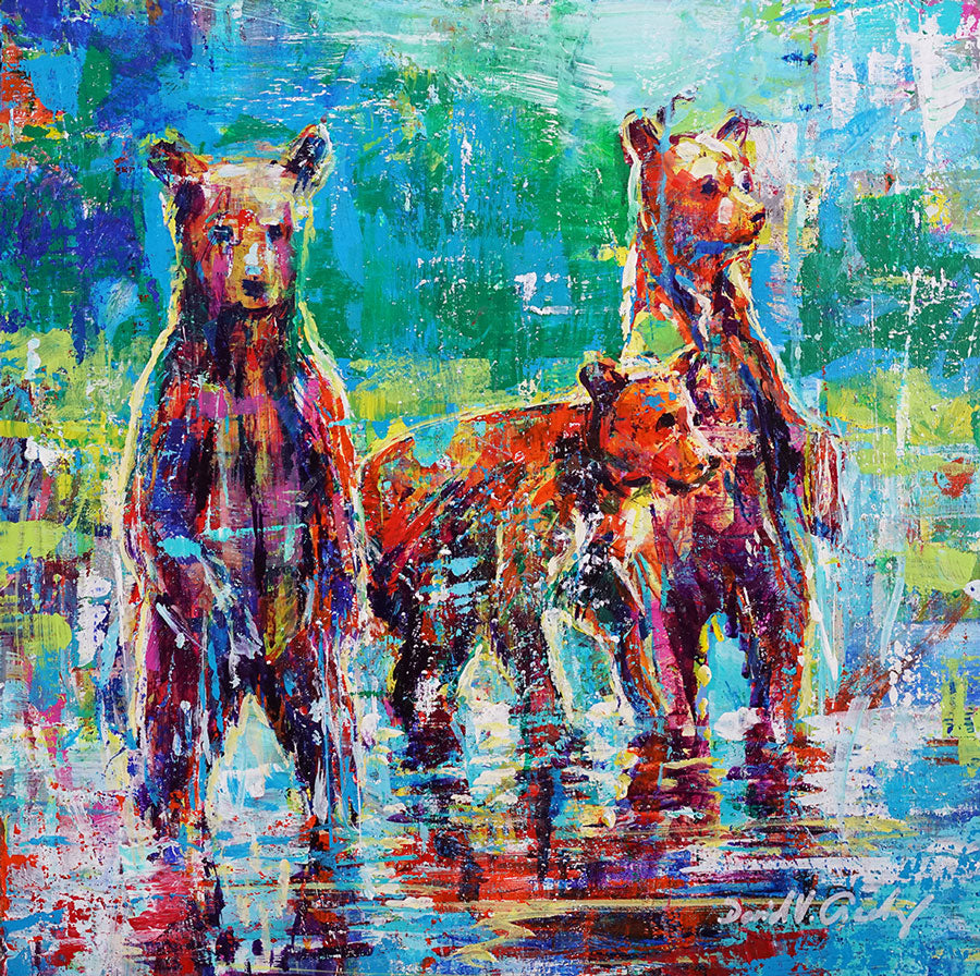 Three of a kind original wildlife bear painting by Colorado based artist David V Gonzales