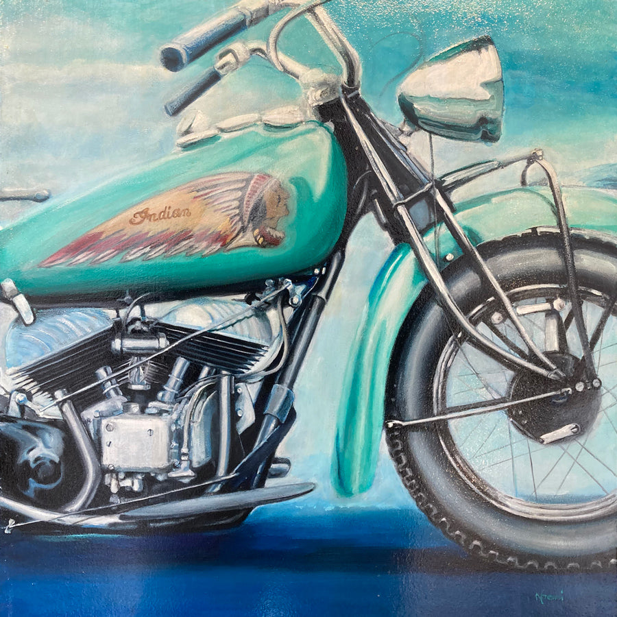 Teal Indian Motorcycle original painting by Noemi Kosmowski for sale at Raitman Art Galleries located in Breckenridge and Vail Colorado