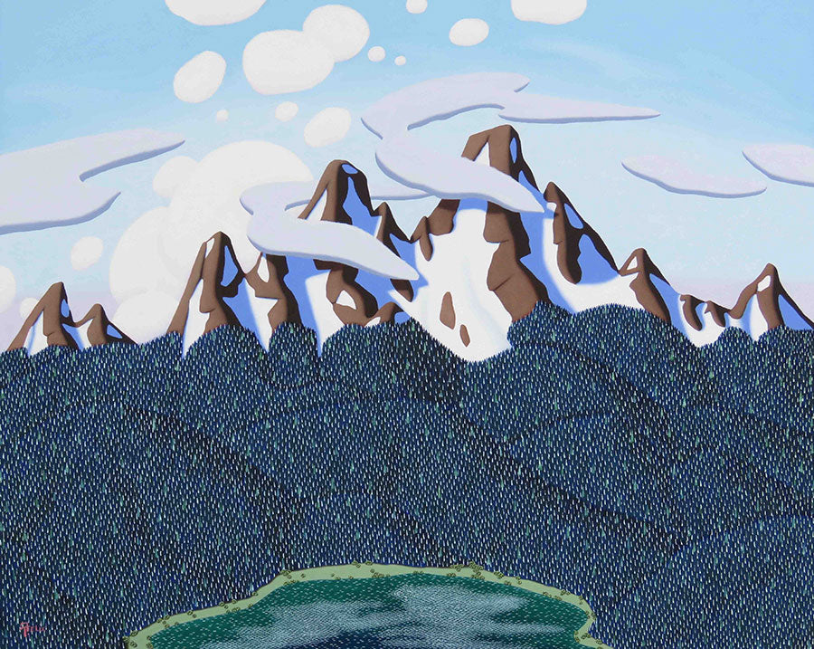 The Lake Below Tracy Felix painting of mountains clouds trees and a lake