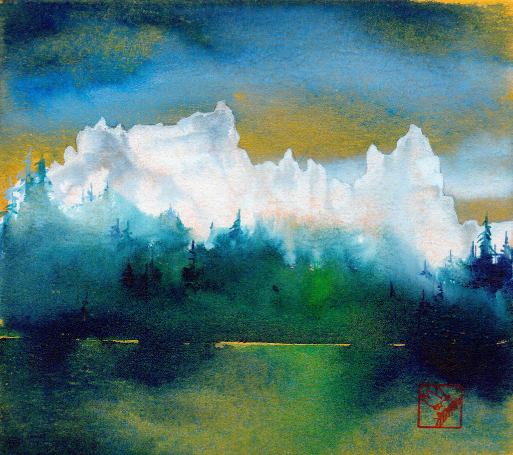 The Pinnacles Gold original watercolor landscape by Jackson Hole Wyoming artist Kay Stratman