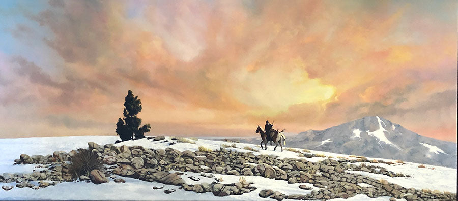 The Return original oil on canvas winter mountain landscape by Colorado Springs artist Maxine Bone