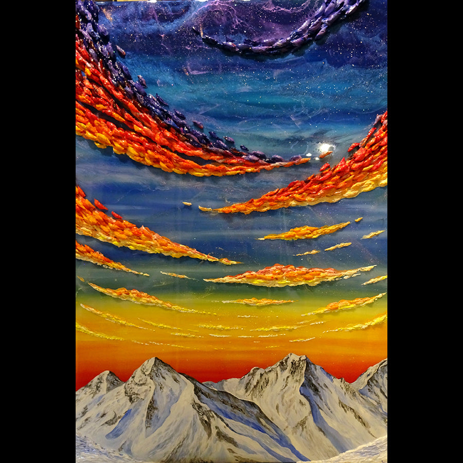 The Perfect Day Resin Mountain Painting by artist Chris Lundy