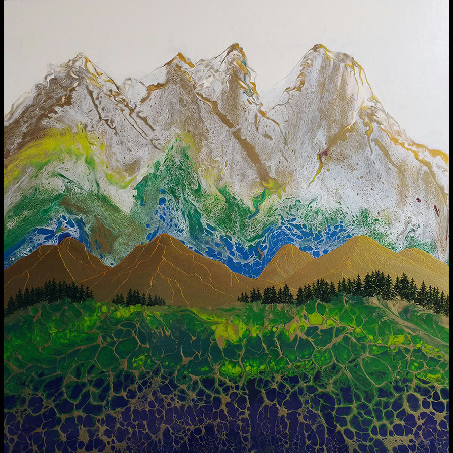Rocky Mountain High original acrylic mixed media painting by California artist Kate McCavitt