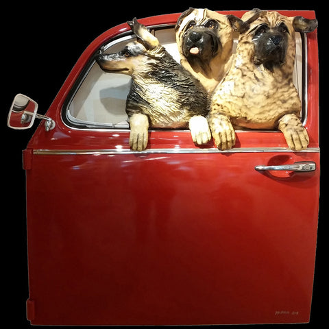 Three Dogs in a Red VW Door