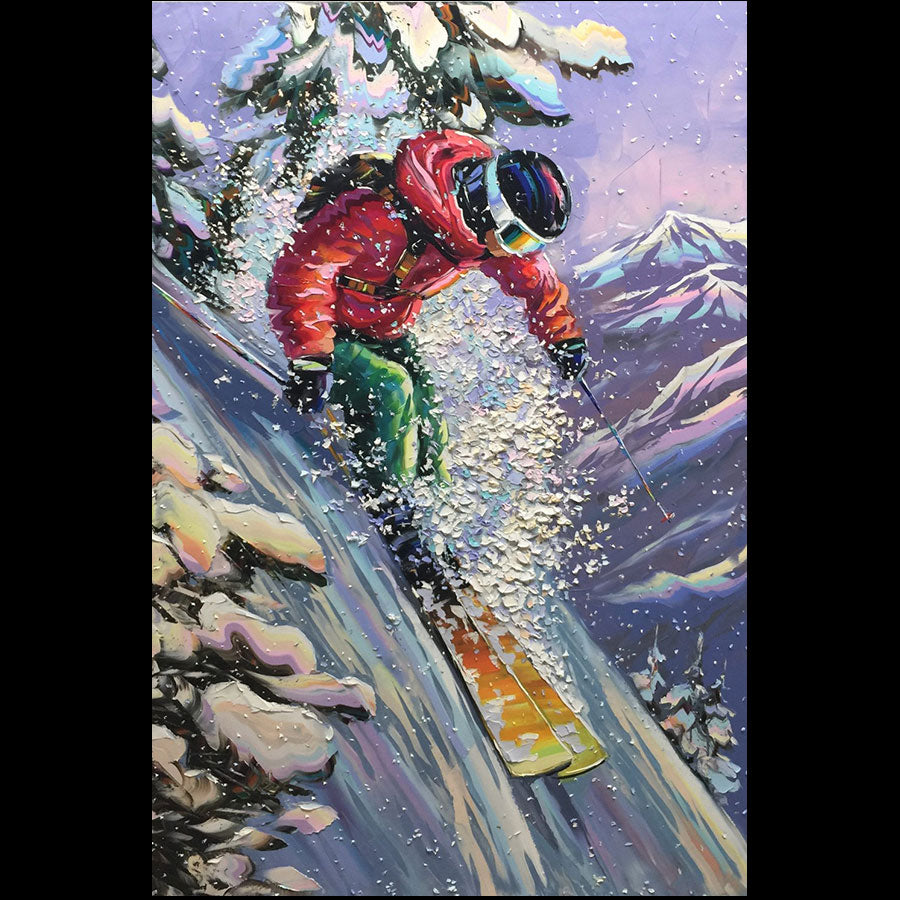 Thrilling Powder original ski painting by artist Michael Rozenvain