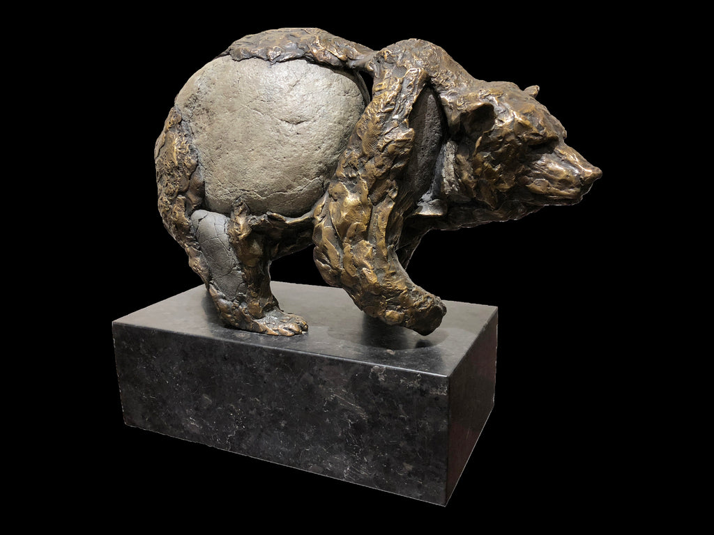 Tiptoe Bronze River Stone Grizzly Sculpture by Gampi Artist Pete Zaluzec