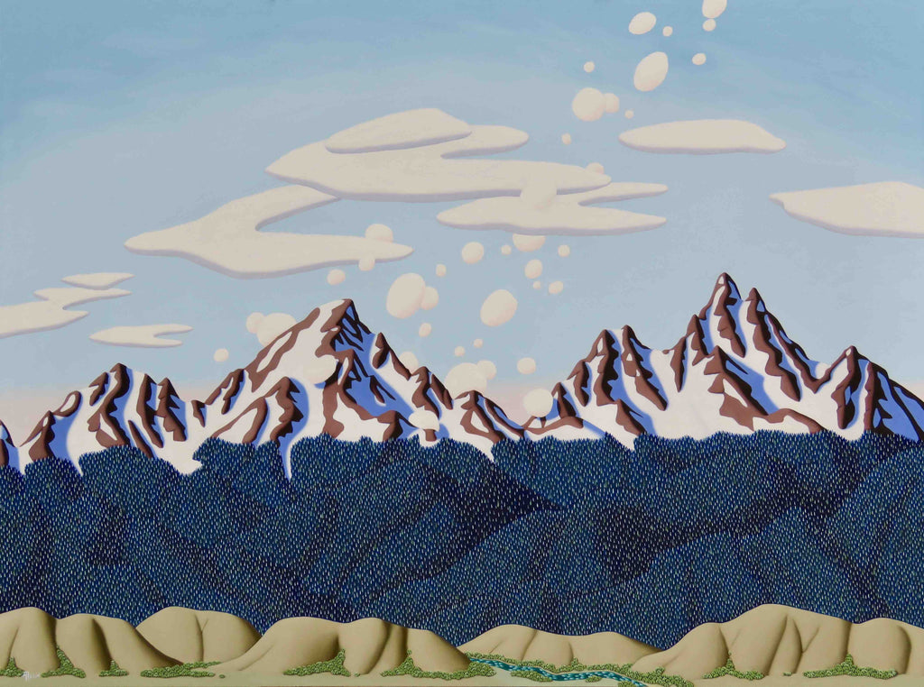 Tracy Felix Original Oil Painting of Mountains: Calm Sky Over the Pass