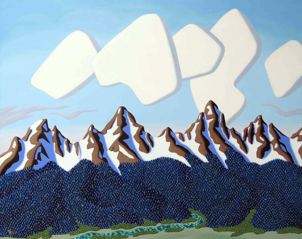 Tracy Felix Original Oil Painting of Mountains: Clouds and Peaks