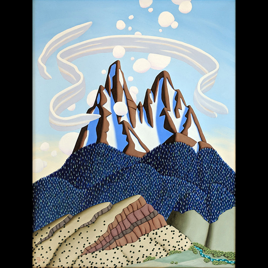 Tracy Felix Original Oil Painting of Mountains: Embrace