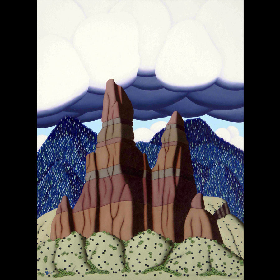 Tracy Felix Original Oil Painting of Mountains: Towers
