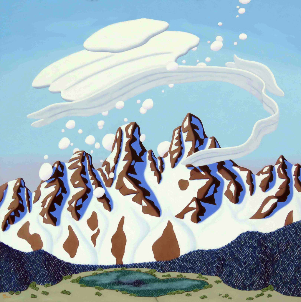 Tracy Felix Original Oil Painting of Mountains: Twin Peaks