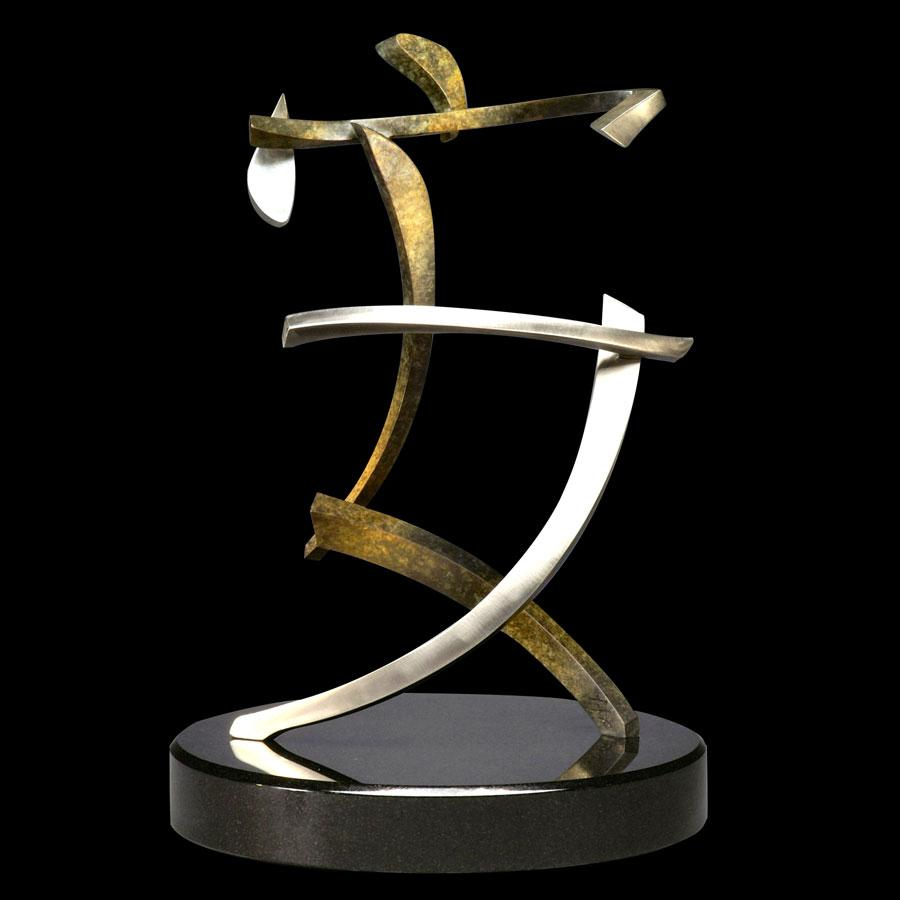 Tranquility bronze and stainless steel Chinese calligraphy symbol by artist Casey Horn