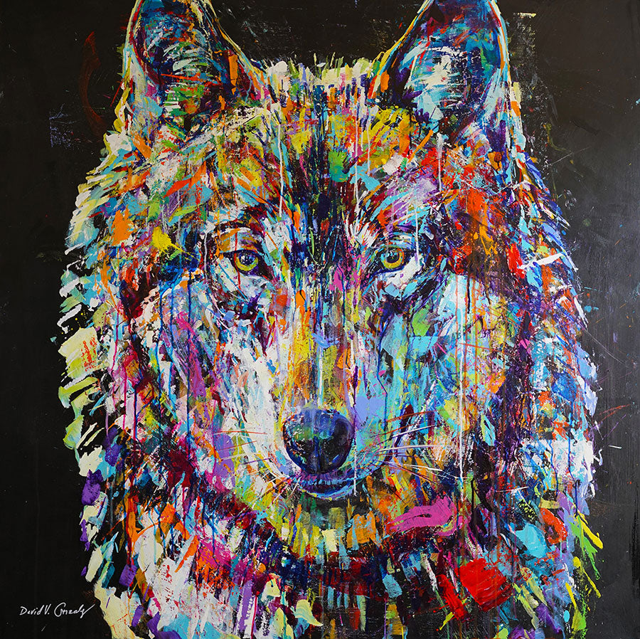 Translucent original wolf painting by Colorado artist David Gonzales