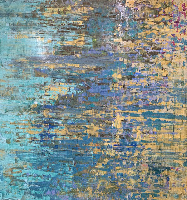 Turquoise Reflections original abstract painting by artist Kristof Kosmowski