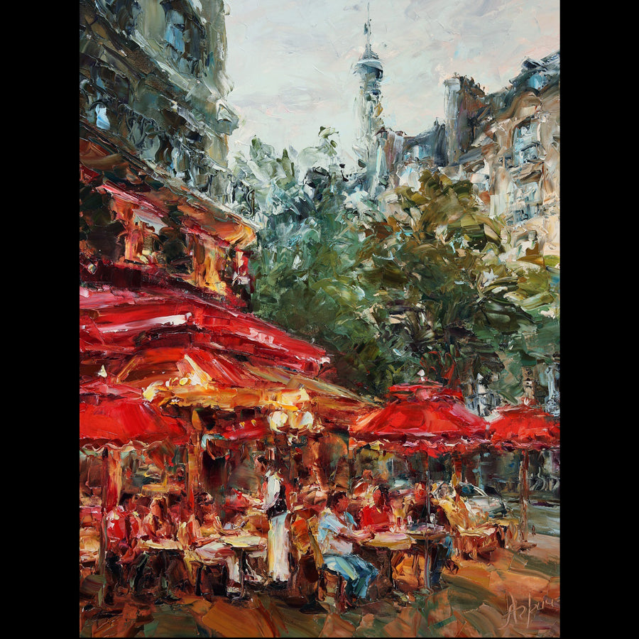 Under Red Umbrellas original painting by lyudmila agrich for sale at Raitman Art Galleries