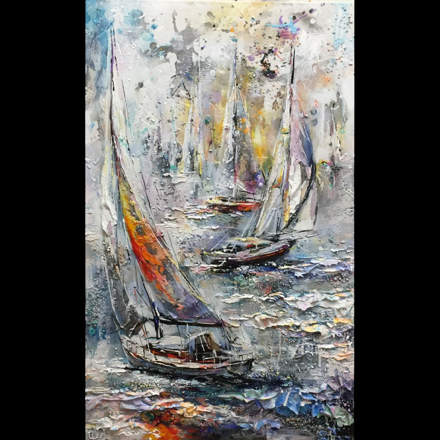 Under the blue sky sail boat painting by artist Miri Rozenvain