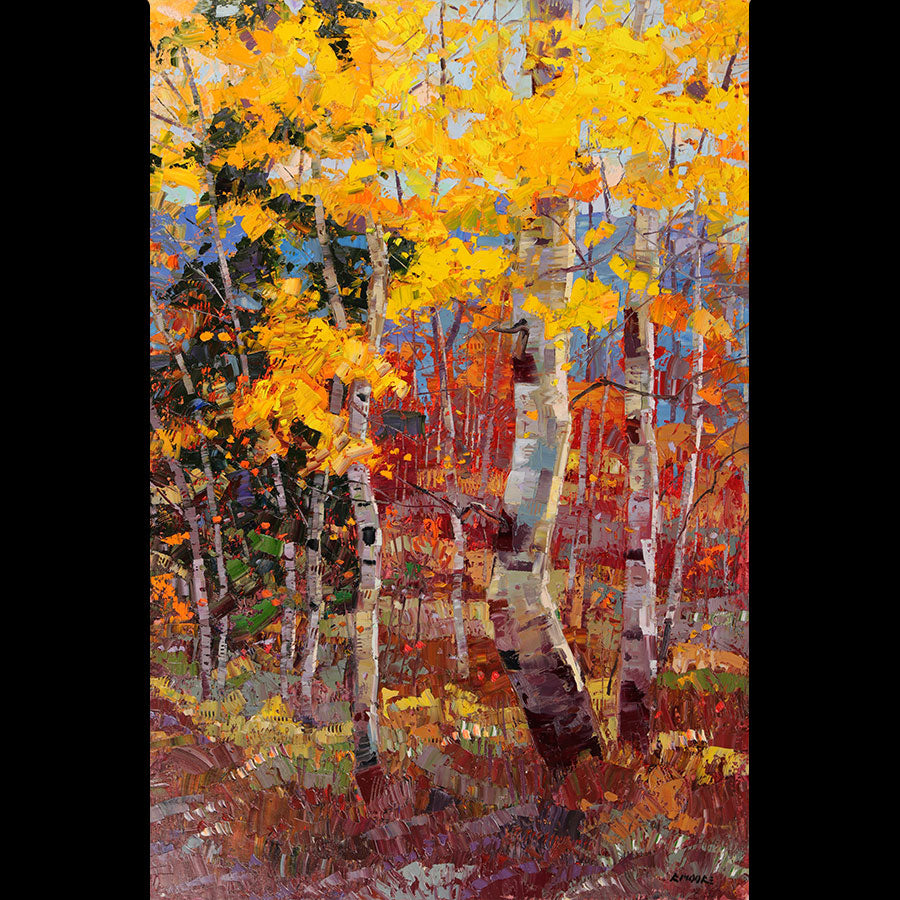 Vibrance original oil painting by artist robert moore for sale aspen tree art