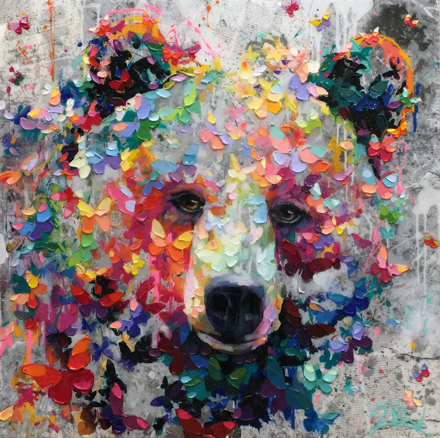 Vibrant Spring Days bear painting by artist 2wild for sale at Raitman Art Galleries located in Breckenridge and Vail Colorado