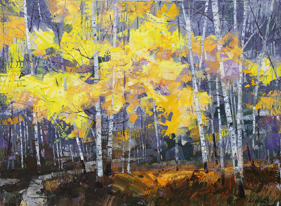Voice of Autumn original fall aspen forest painting by robert moore for sale