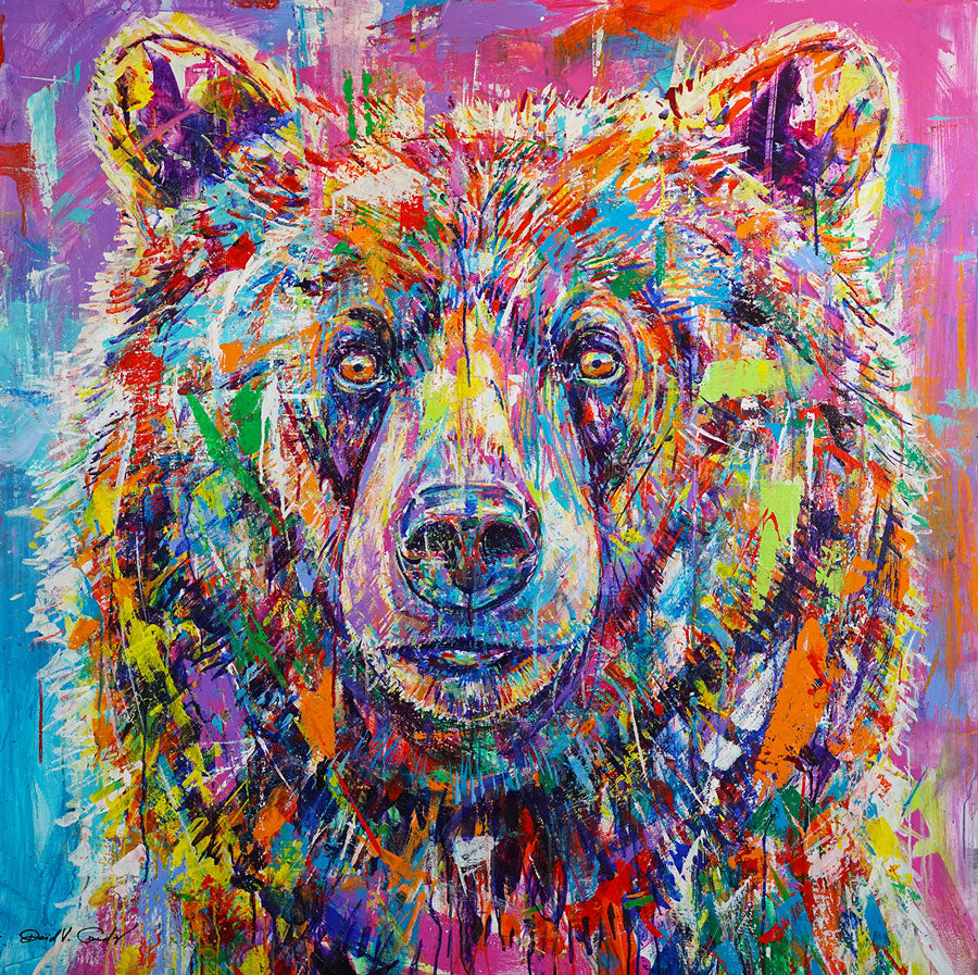 Wild Rendezvous bear painting by artist David V Gonzales