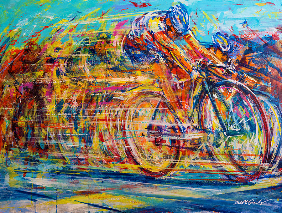 Winning Battle bike race painting by artist David Gonzales