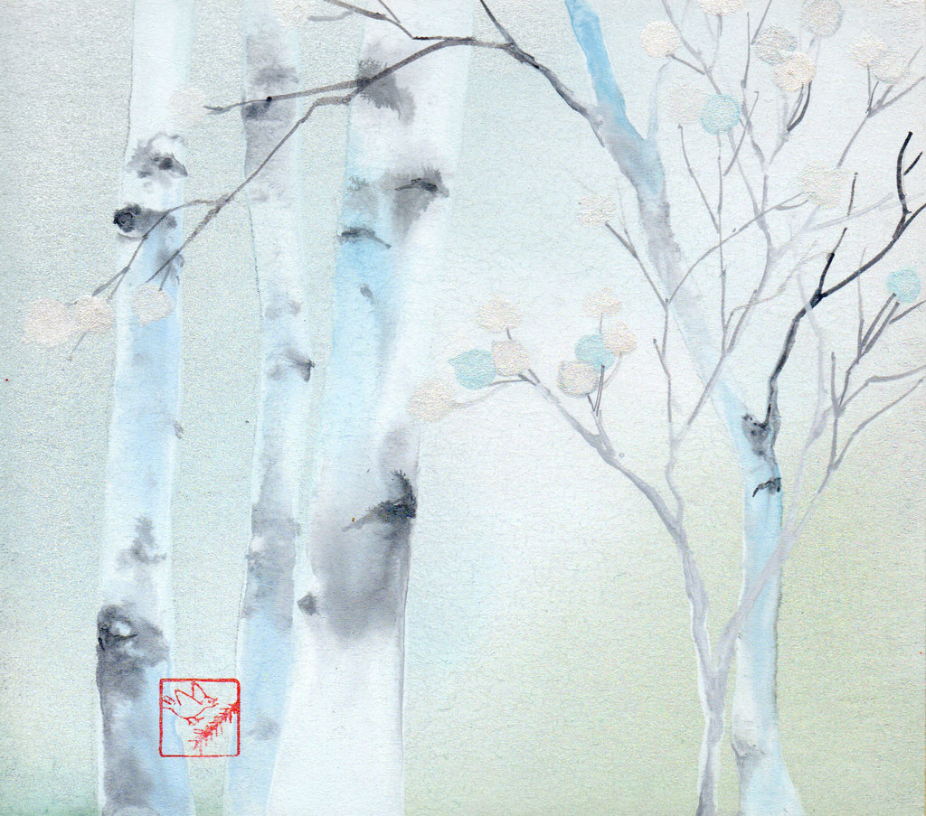 Waiting for Winter original watercolor aspen painting by Jackson Hole Wyoming artist Kay Stratman