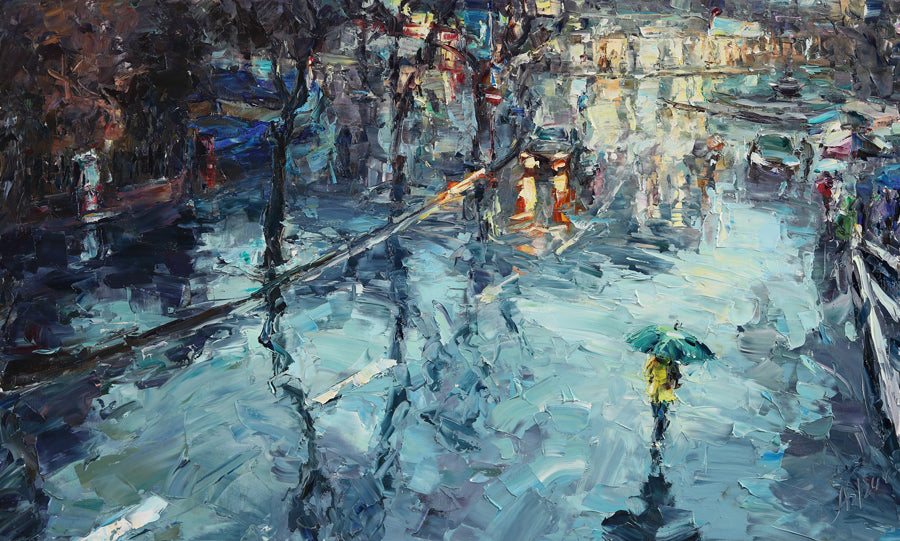 Walking In The Rain original cityscape painting by artist Lyudmila Agrich