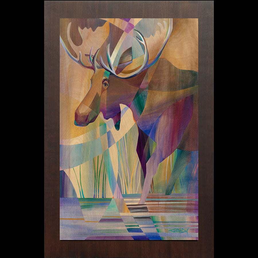 Cynthia Duff Original Painting on Wood of Moose: Warrior Conquest