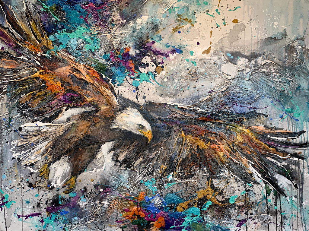 Watching from Above Original Eagle Painting by Artist Miri Rozenvain