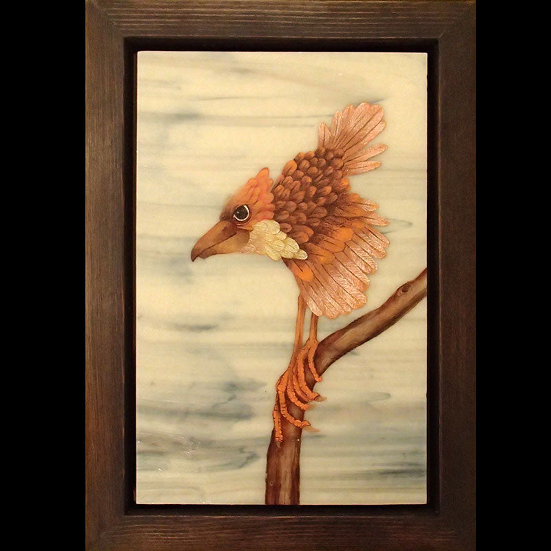 Welcome to my Cozy Perch original glass fired powder painting by Colorado artist Gary Vigen
