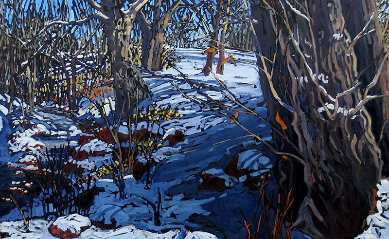 When Sun Shines on Winter original landscape oil painting by Colorado artist Deb Komitor