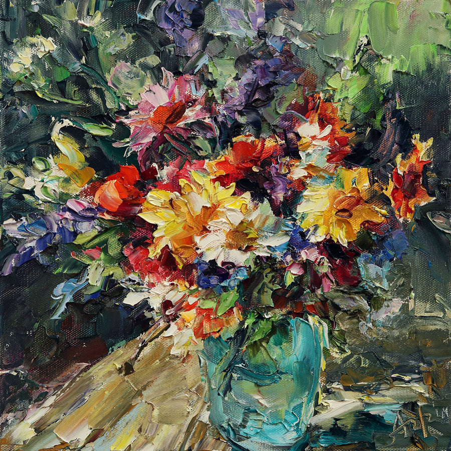 Wild Flowers in Blue Vase original painting by Lyudmila Agrich for sale at Raitman Art Galleries