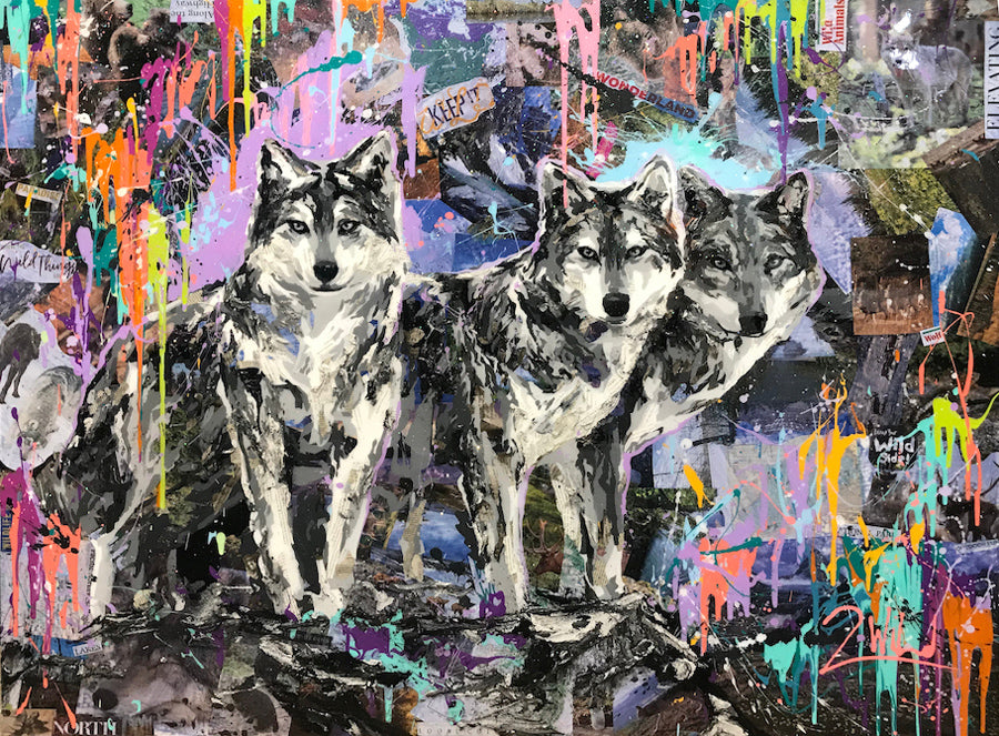Wild Pack mixed media wolf painting by artist 2wild